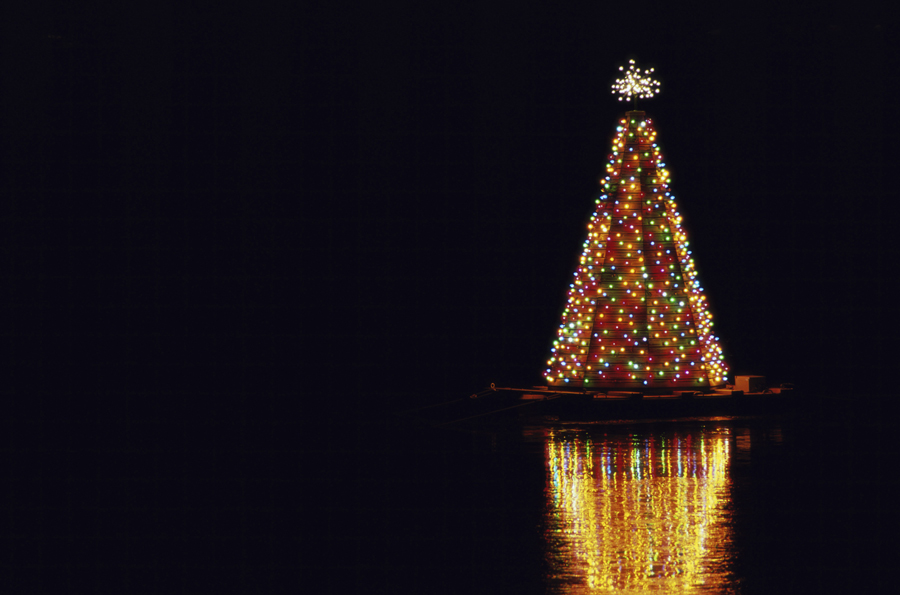 Lite Christmas tree on the floating barge